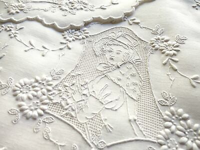 Antique Appenzell Embroidery Placemat Set for Brunch/Tea/Dessert - Setting for 8