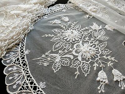 ROSES Antique c1920 French Tambour Net Lace Placemats - Set of 12 & Table Runner