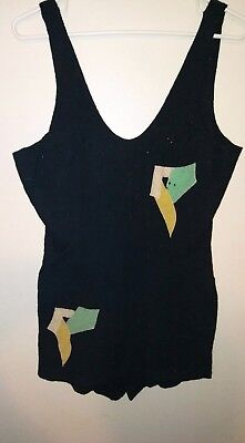 Vintage 1920's 1930s Navy Blue Wool Swimsuit Antique Bathing Suit CAMPUS