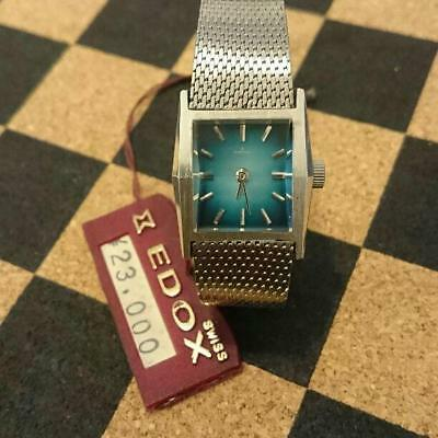EDOX 70's Hand winding Watch Blue Gradation Dial Swiss Made Antique Vintage Rare