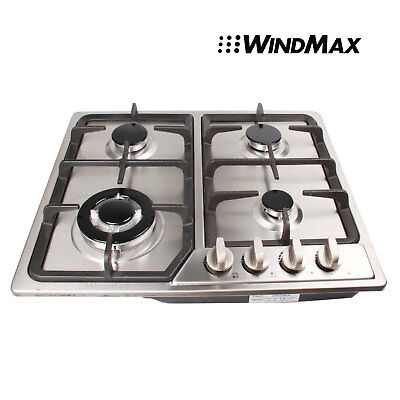 58cm Cooker Cooktops Stainless Steel Built-in 4 Burner Stove Gas Hob Cooktops