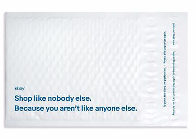 """100 eBay Branded SELF-SEAL BUBBLE Airjacket Envelopes 6.5""""x8.75"""" White Mailers"""