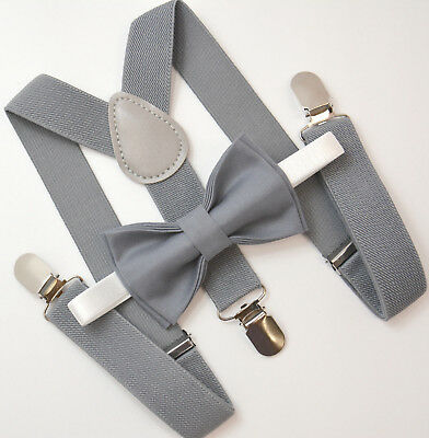 Kids Boys Mens Baby Gray Suspenders & Gray Bow tie Infant - ADULT Wedding SET