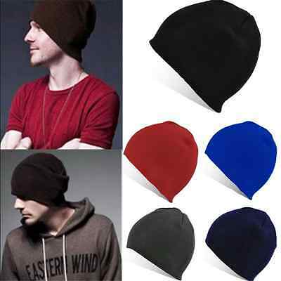 Plain Beanie Knit Hat Mens Women's Winter Warm Cap Slouchy Solid Skull Cuff Hat