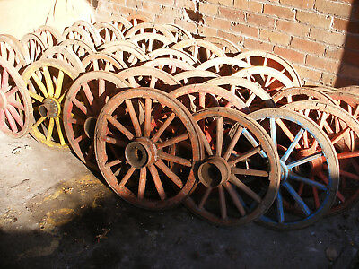 Ancient wooden cart wheels. approx 600mm diameter