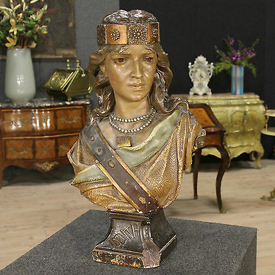 Sculpture french carved painted chalk bust feminine Judith antique style