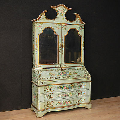 Trumeau venetian wooden paint lacquered painting with flowers antique style 900
