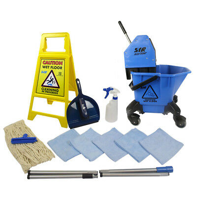 20 Litre TC Mop Bucket on Wheels Floor Cleaning Starter Kit Mop Handle SYR BLUE