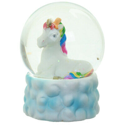 NEW Rainbow Unicorn and Cloud Water Ball Ornament 8.5 cm High Snow Globe Fantasy