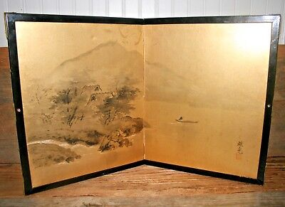 Antique Folding JAPANESE HAND PAINTED TABLE SCREEN Divider Panel Chinese 2 Sided
