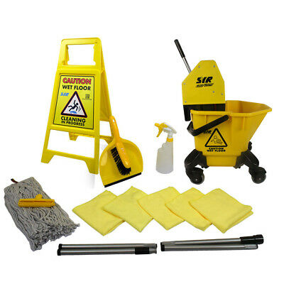 20 Ltr TC Mop Bucket on Wheels Floor Cleaning Starter Kit Mop Handle SYR YELLOW