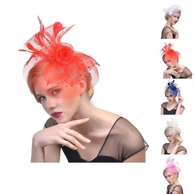 Women Flower Feather Top Hat Fascinator Hairpin Wedding Party Hair Clip Decor