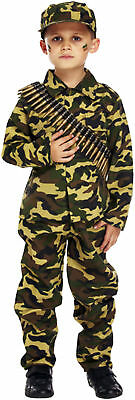 Boys Soldier Costume Childrens Army Action Man Military Fancy Dress + FREE GUN