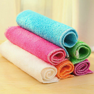 1 Pc Highly Bamboo Fiber Kitchen Hand Towel IN Stock Dish Cloth Rags Set XBUK