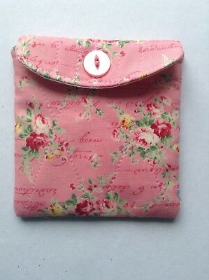 Purse / quilted bag pink floral fabric Button