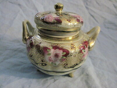 Antique HAND PAINTED NIPPON COVERED SUGAR BOWL Maple Leaf Mark GORGEOUS