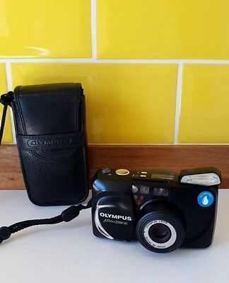 Olympus µ[mju:] Zoom 140 - 35mm Compact Film Camera - All Weather - Black + Case