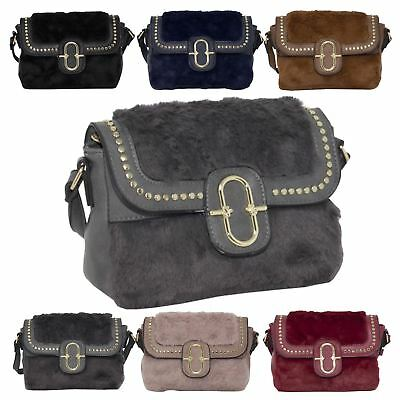 New Synthetic Fur Leather Metallic Detail Ladies Trendy Crossbody Bag