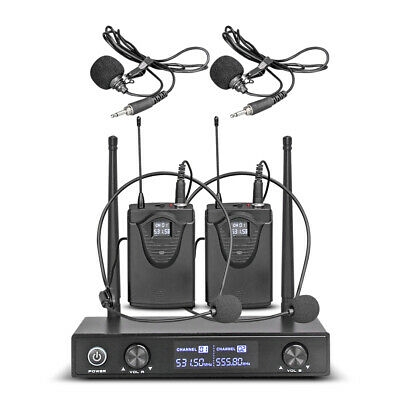2 channel DUAL WIRELESS MICROPHONE SYSTEM With Mute