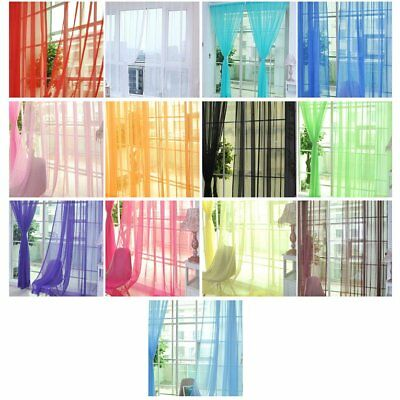 Home Floral Tulle Voile Door Window Curtain Drape Panel Sheer Scarf Valances QW