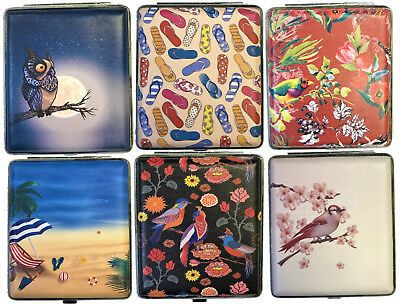 Eclipse Fun Design Beach Bird Leatherette Crushproof Metal Cigarette Case, 100s