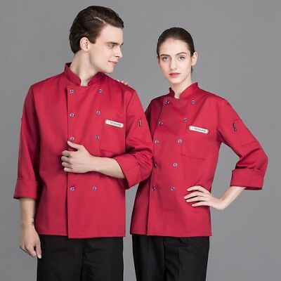 Unisex Chef Coat Bakery Pastry Cook Workwear Long Sleeve Restaurant Uniform New