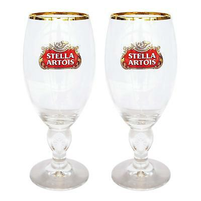 2 NEW Stella Artois Chalice 40 CL Beer Glasses Pub Bar Goblet Man Cave Belgium