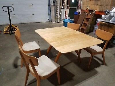 Heywood Wakefield, Mid-Century,Wishbone Drop Leaf Dining Table, Chairs, Server
