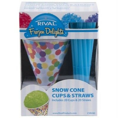 Rival Snowcone Cups and Straws Set, by Rival Includes 20 Cups & 20 Straws