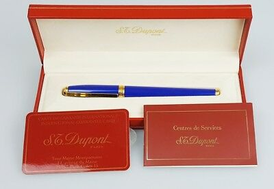 ST Dupont Atelier Yellow Gold Finish Blue Natural Lacquer Fountain Pen
