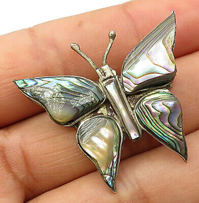 MEXICO 925 Silver - Vintage Mother Of Pearl Inlay Butterfly Brooch Pin - BP1901