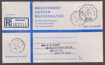 Isle of Man 1983 Registered Letter £1.12 Cover Douglas Label Old Laxey Postmark
