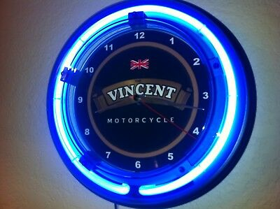 *** Vincent Motorcycle Garage Man Cave Blue Neon Wall Clock Sign