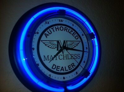 *** Matchless Motorcycle Garage Man Cave Blue Neon Wall Clock Sign