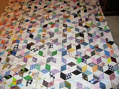 """Quilt Top Hand Stitched from the 1940's,  Country Quilt Top 102"""" x 76"""""""