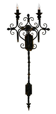 NEW LARGE EUROPEAN FRENCH IRON SCROLL WOOD WEATHERED Wall Sconce SET/2
