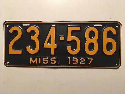 1927 Mississippi License Plate Single Plate Ford Model T Year YOM Chevy Dodge