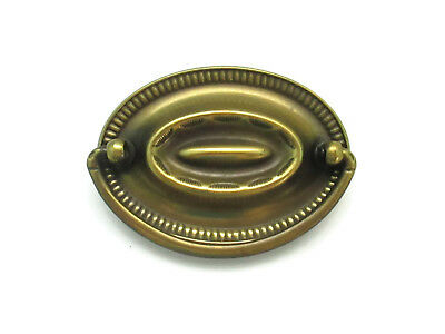 "2.5"" Center Vintage Hepplewhite Drawer Pulls Antique Brass Oval Handle 2 1/2 OC"