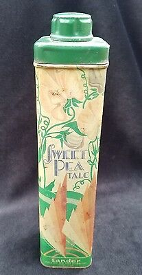 Old Advertising Powder Tin SWEET PEA TALC Lander Fifth Avenue NY Great Graphics
