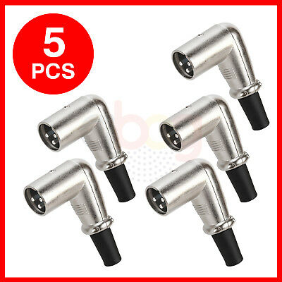 XLR 3 Pin Male Plug Connector Mic Microphone Right Angle 90 Degree - LOT of 5