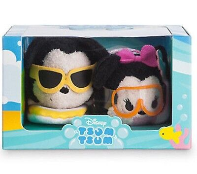 AUTHENTIC Disney Store Mickey & Minnie Hawaii Set Mini Tsum New with Box