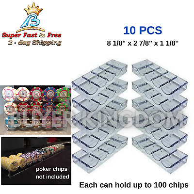 Pack Of 10 Clear Acrylic Casino Blackjack Poker Game Chips Tray Racks Holder New