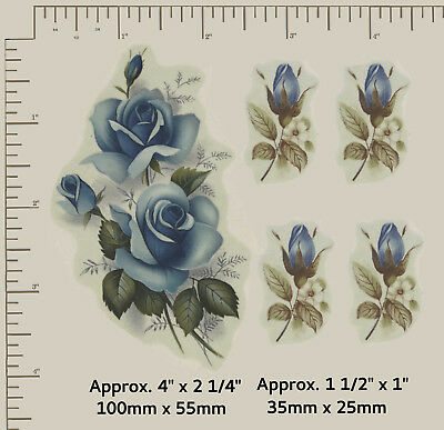 5 x Waterslide ceramic decals Blue roses Buds Spray Flowers Floral 2 sizes  R78