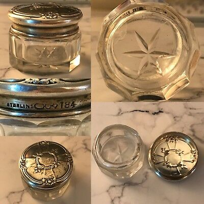 Antique Sterling Silver Dominick & Haff 1 Small Powder Jar Box Crystal Repousse
