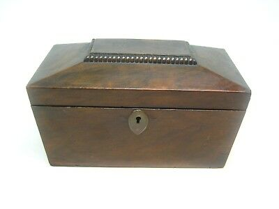 Vintage 19th Century Antique English Regency Sarcophagus Mahogany Tea Caddy