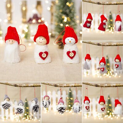 3pcs Mini Santa Peg Doll Tree Pendant Decorations Christmas Wood Wall Hanging