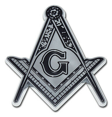 MASON DETAILED CHROME METAL AUTO EMBLEM car truck decal Freemason Masonic