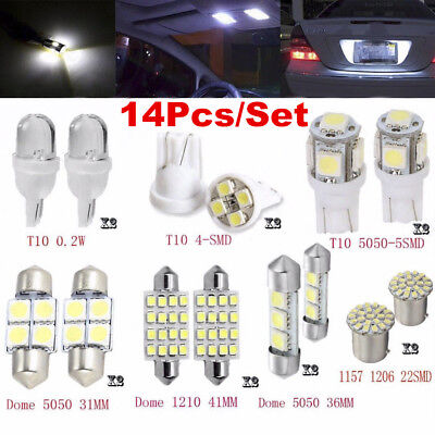 14Pcs White LED Interior Package Kit T10 36mm For Map Dome License Plate Lights