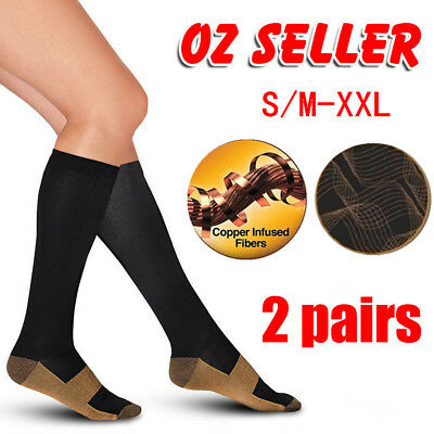 2 Pairs Medical Copper Compression Socks Anti Fatigue Unisex Travel DVT Comfort