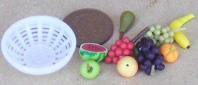 1:12 Scale White Plastic Bowl Of Hand Made Fruit Tumdee Dolls House Accessory
